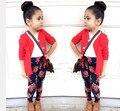 ST165 2016 осень девочка одежда мода девушки красный хлопок кардиган + Футболка + цветочные брюки 3 шт. детская одежда розничная