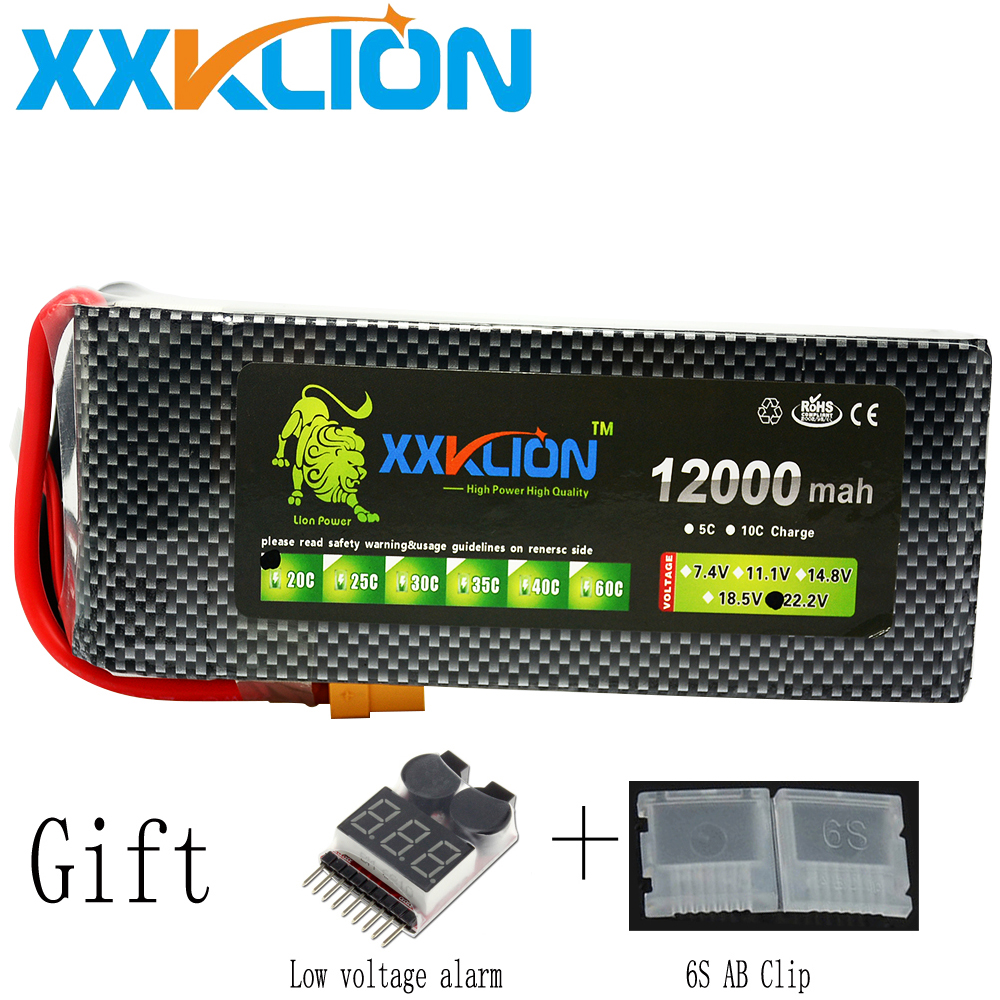XXKLION drone Lipo battery pack 22.2v 12000mAh 20C 25C 30C 6S for rc airplane Aerial multi - axis unmanned aerial vehicle unmanned