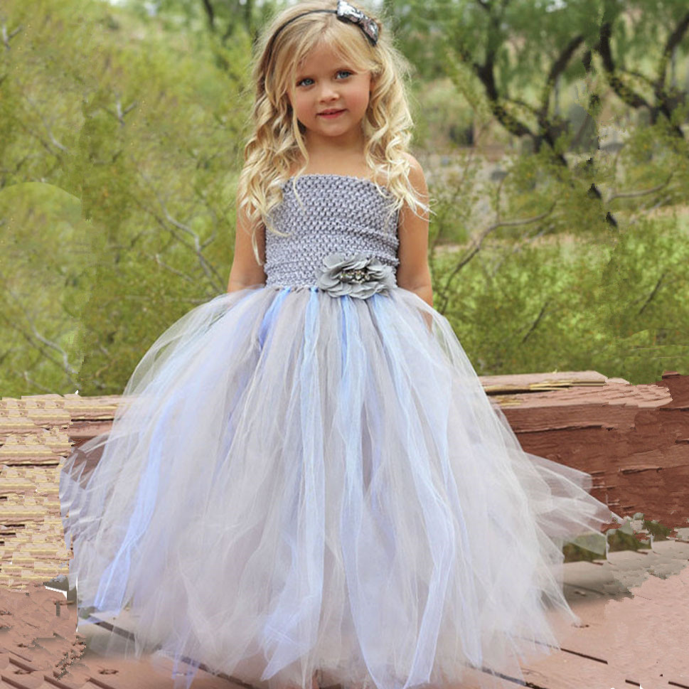 Light Blue and Silver Flower Girl Wedding Tutu Dress Children Pageant Ball Gown Princess Girls Kids Tulle Party Dresses Costume
