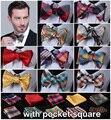 Проверьте 100% шелк жаккард тканые мужчин, Свадьба бабочка самостоятельная галстук-бабочку карманный площадь платок боути установить шуры костюм # B2