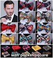Check 100%Silk Jacquard Woven Men bow tie, Wedding Butterfly Self Bow Tie Pocket Square Handkerchief BowTie Set Hanky Suit #B2