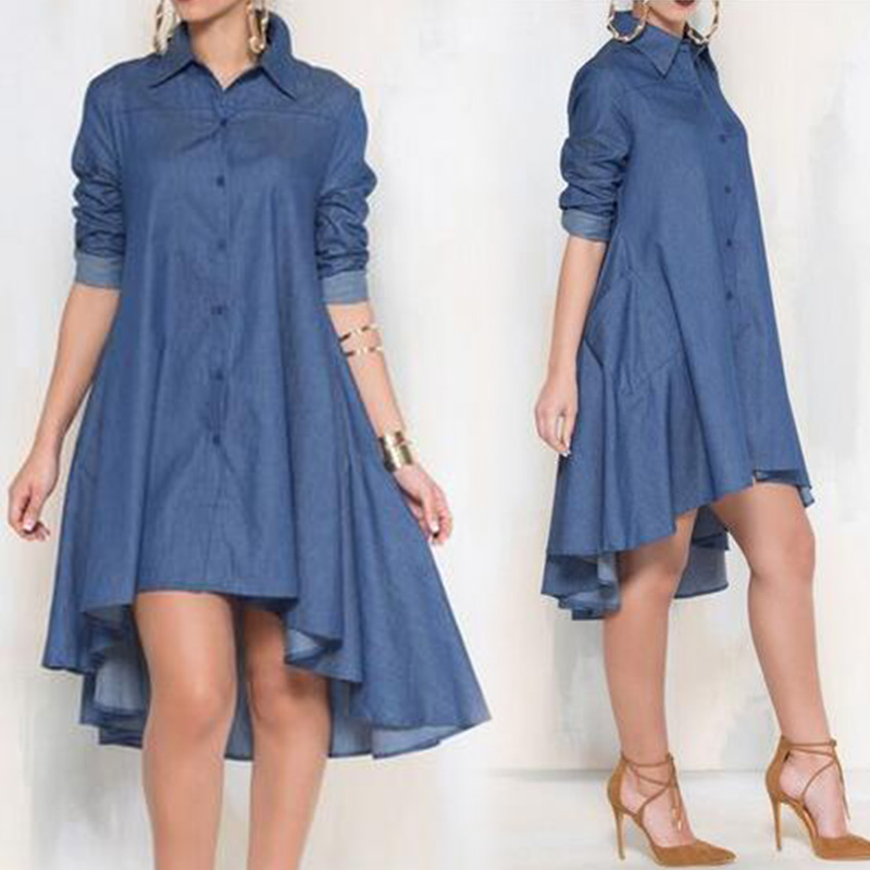 Women Loose Jeans Dress Long Sleeve Turn-down Collar Denim Dress Vintage Lapel Autumn Irregular Hem Blouse Shirt Dresses