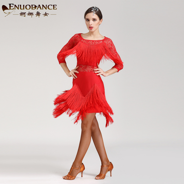 222afcb03 New black red blue rose latin dance costumes sexy senior Lace tassel latin  dance dress for women latin dance dresses S-XXXL