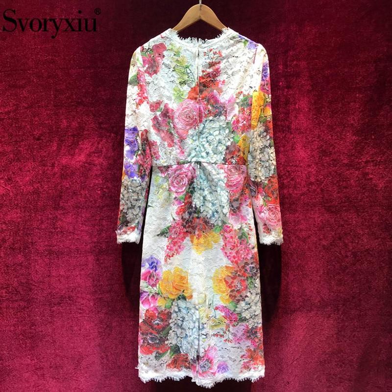 Svoryxiu ฤดูใบไม้ร่วงฤดูหนาวรันเวย์หรูหราชุดสตรี Elegant หญิงยาวแขน Vintage Rose ที่มีสีสันลูกไม้ชุด-ใน ชุดเดรส จาก เสื้อผ้าสตรี บน   2