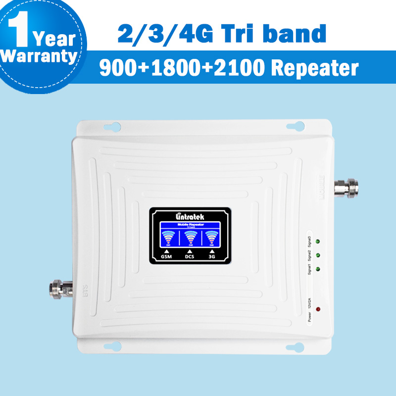 2G 3G 4G Signal Tri Band Repeater Internet Amplifier LCD Display 900 1800 2100 gsm lte