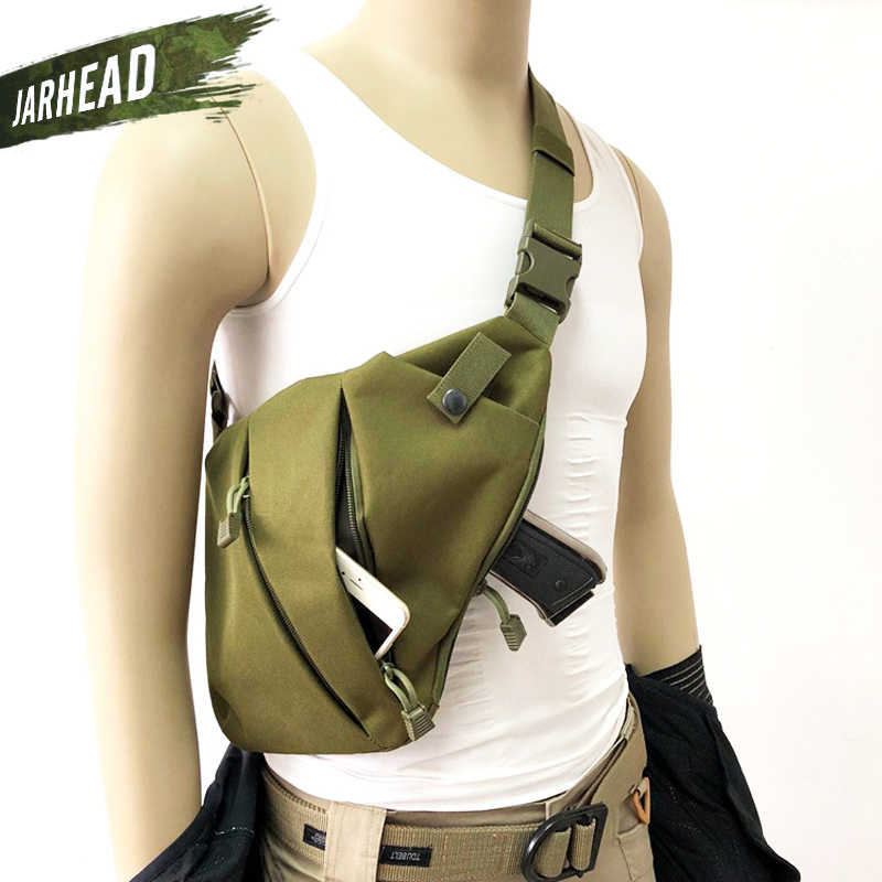 Outdoor Taktis Penyimpanan Sarung Pistol Tas Bahu Pria Anti-Theft Dada Bag Nilon Olahraga Berburu Selempang Pistol Tas
