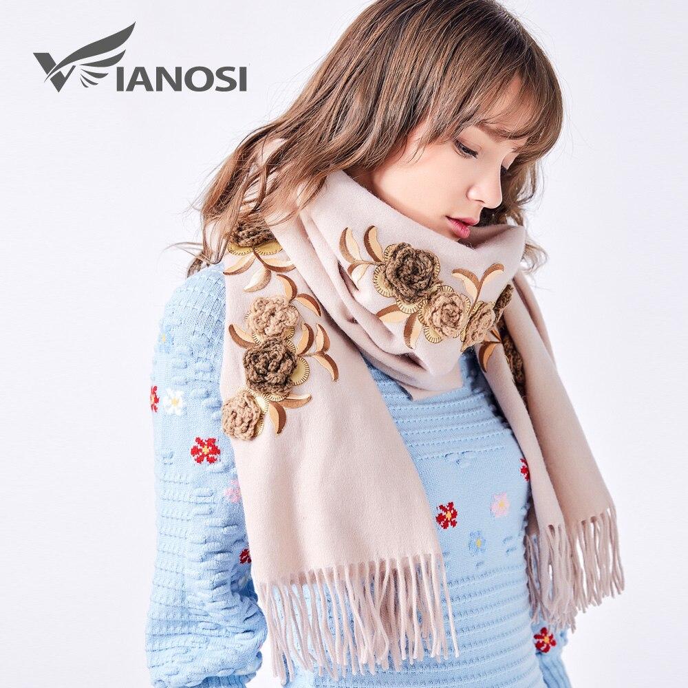 VIANOSI2017 Nouvelle Conception 100% Laine Écharpe Femmes Écharpes D hiver  TOP Qualité Broderie À 49bb567617e