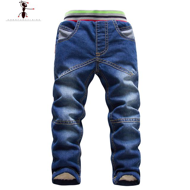 Outono de Pele do Inverno de Pelúcia Meninos Casuais Sólidos Meninos Cintura Elástica calças de Brim Quentes Infantil Cowboys Crianças Denim Calças 2446