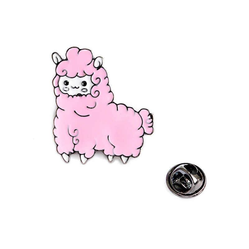 Lucu Pria Anggun Merah Muda Animal Enamel 1 PC Baru Biru Bros Wanita Unik Domba Sarung Tangan Topi Setelan Bisnis Syal Hadiah