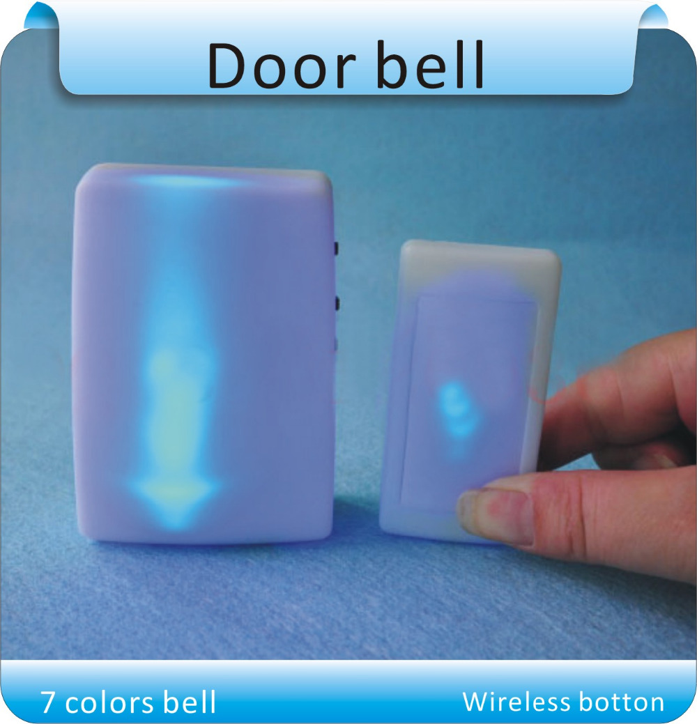 Free Shipping 7 Colors Light Flash Music Doorbell Wireless -9091