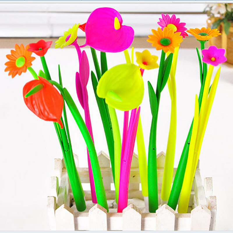 цена на 5 pcs/lot Cute Kawaii Flower Gel Pen Creative Silicone Korean Pens Canetas Novelty Item School Supplies Free Shipping 3663