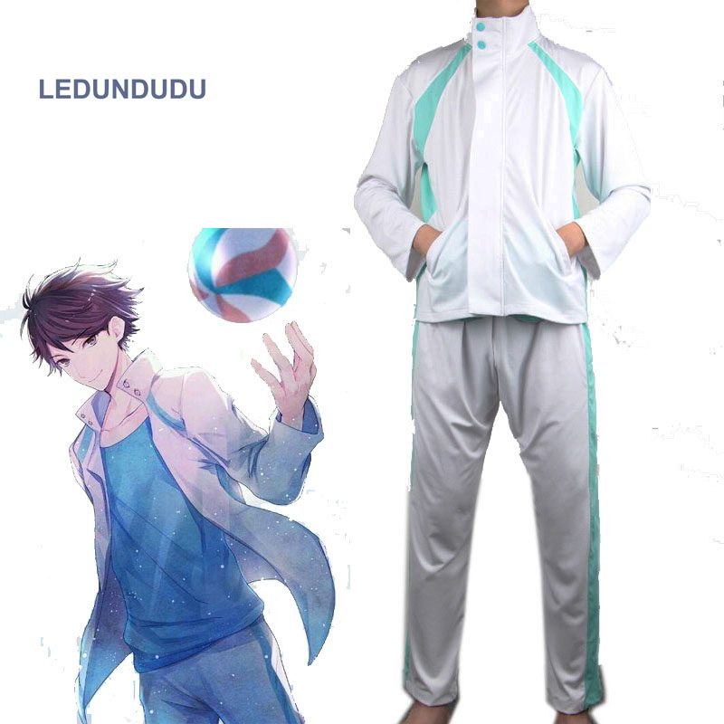 Anime Haikyuu!! Aoba Johsai High School Oikawa Tooru School Uniform Jackets Men Coat Cosplay Costumes