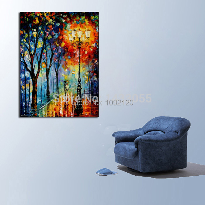 100 Handpainted Abstract Warm Night font b Knife b font Oil Painting On Canvas Thick Oil