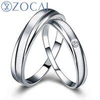 Para ZOCAI 0.01 Ct certified diamentowy pierścień obrączki dla kobiet i mężczyzn pierścień PT950 Q00534AB