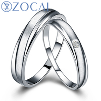 ZOCAI Pair 0.01 Ct certified diamond PT950 wedding bands for women ring and men ring Q00534AB