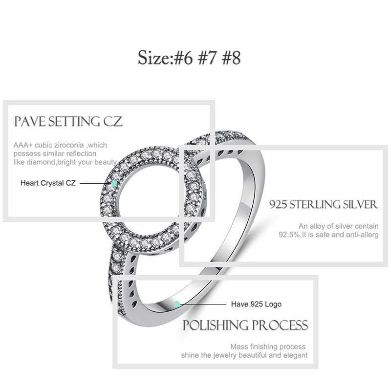 ELESHE בציר 925 כסף סטרלינג טבעות לנצח מעוקב Zirconia CZ עיגול אצבע טבעת עבור נשים גבירותיי תכשיטי חתונה