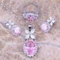 Hot Vender! rosa Branco CZ Jóias de Prata Conjuntos Brincos Pingente Anel Para Mulheres tamanho 6/7/8/9/10 S0039
