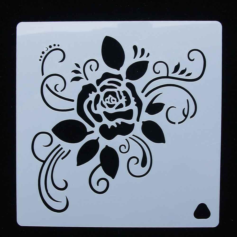 Gul Cicek Kullanimlik Stencil Airbrush Boyama Sanat Kek Sprey