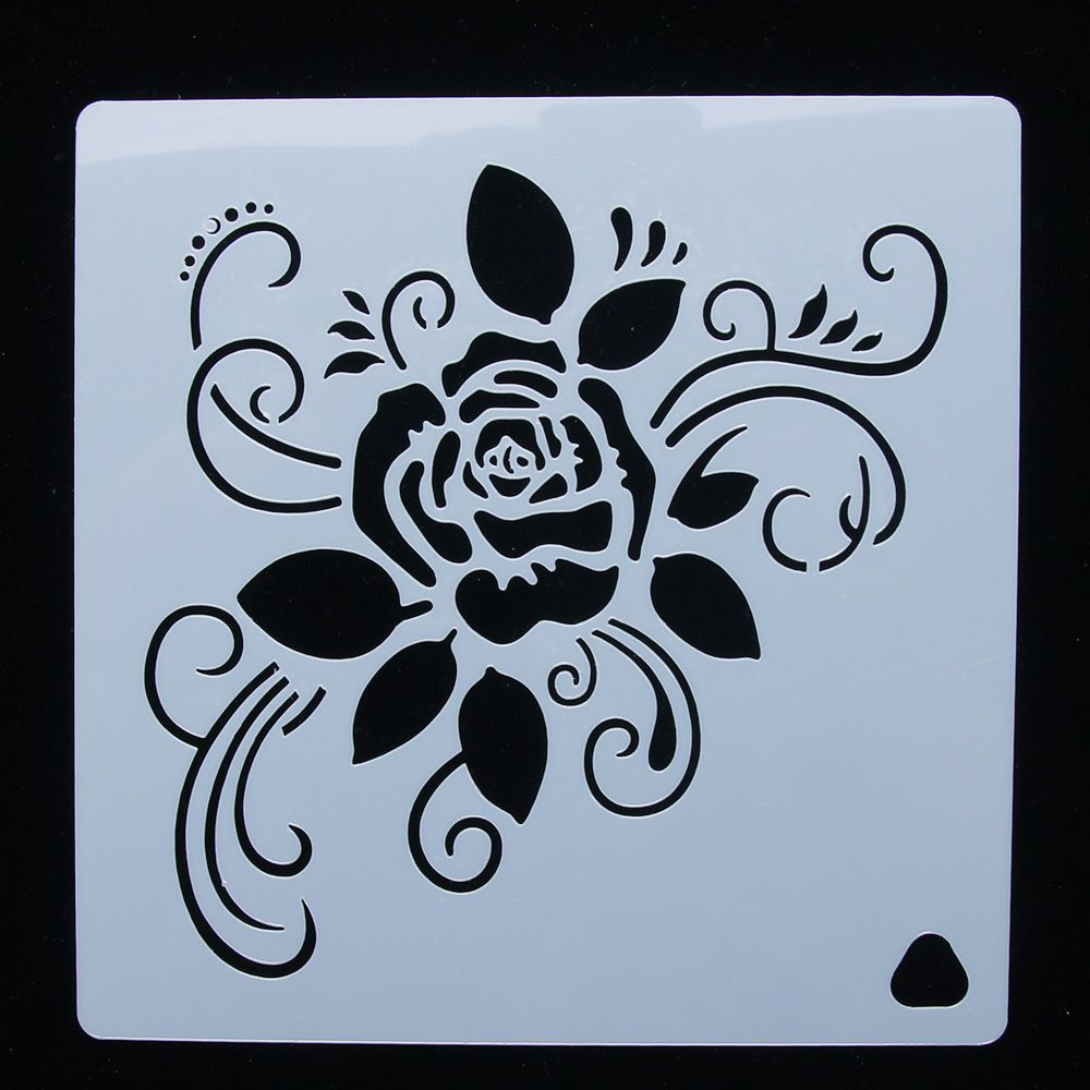 Rose Flower Reusable Stencil Airbrush Painting Art Cake Spray Mold DIY Decor Crafts Kitchen Baking Utensils Decorative Tool