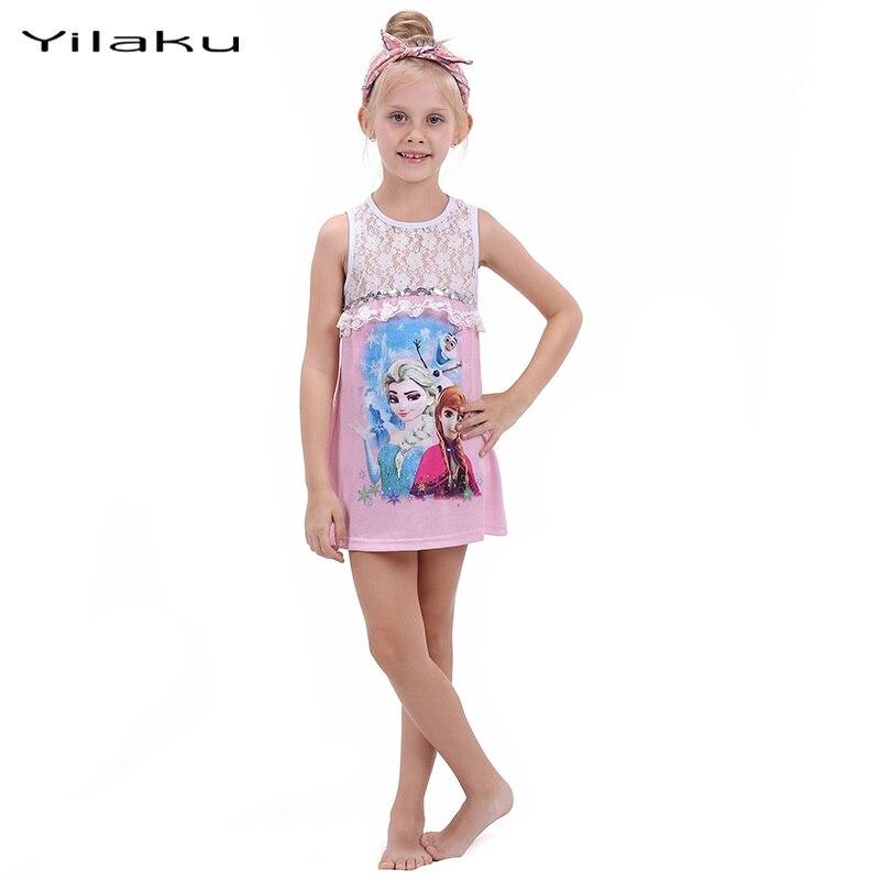 Yilaku Brand Girls Princess Elsa Dress 2017 Summer