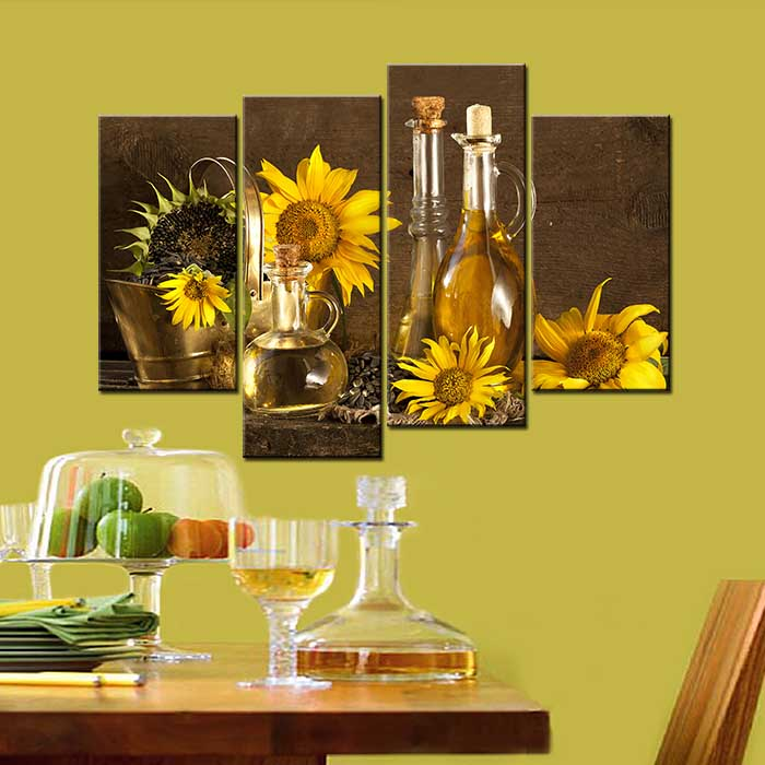 Unframed Home Decorative Canvas Paintings Abstract Sunflower Wall Art 4  Panels Living Room Home Decor In Wall Stickers From Home U0026 Garden On  Aliexpress.com ...
