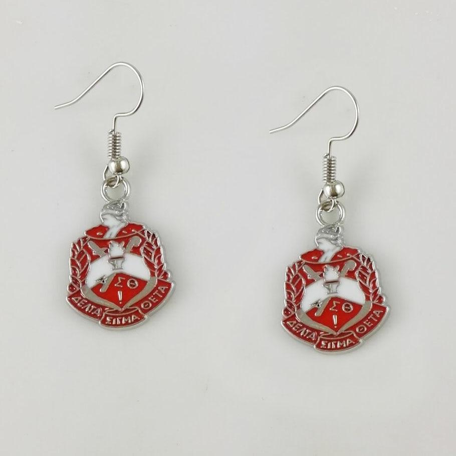 Delta Sigma Theta Earrings: Greek DST Crest Sheild Logo Charm Delta Sigma Theta