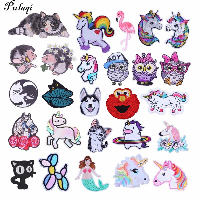 Pulaqi Cartoon Cute Animal Patches for Clothing Owl Cat Unicorn Dog Mermaid T-shirt Appliques Diy Garment Accessories H