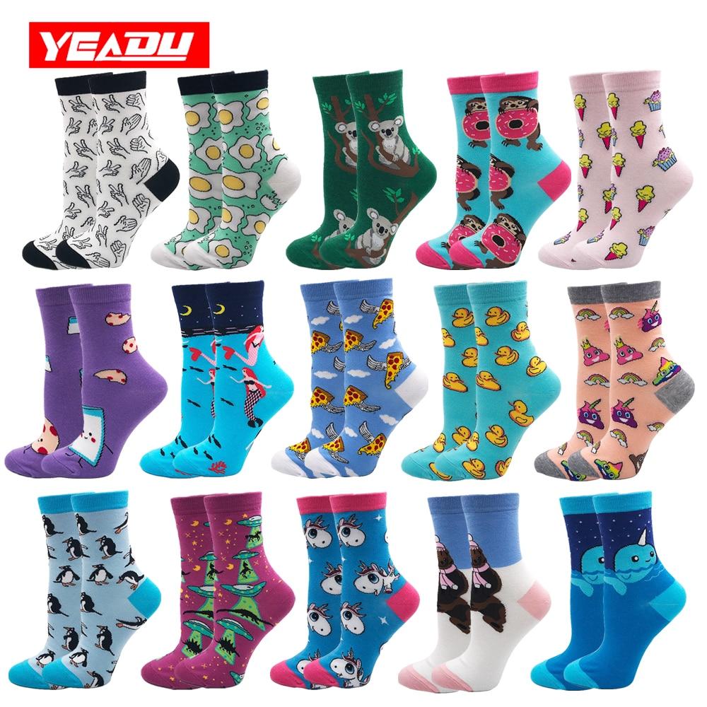YEADU Women's Socks Harajuku 85% Cotton Cute Crazy Happy Cartoon Pink Sweet Funny Novelty Kawaii Cat Alien Unicorn For Girl