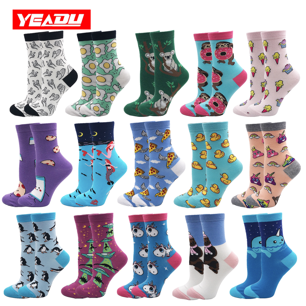 YEADU Women's   Socks   Harajuku 85% Cotton Cute Crazy Happy Cartoon Pink Sweet Funny Novelty Kawaii Cat Alien Unicorn for Girl