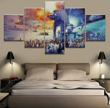 5 Panel HD Print Large Star Wars Movie Picture Painting Canvas Wall Art Home Decoration Living Room