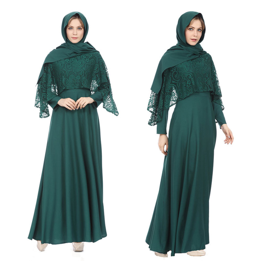 2019 Fake 2 Pieces Women Muslim Costumes Traditional Islamic Clothing Turkish Arabic Eid Mubarak Abaya Gown Lace Women Dress