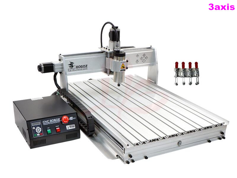 1500W USB mini cnc router 8060Z USB1500W with ball screw cnc 8060 for hard metal ,wood so on