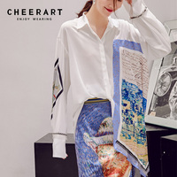 Cheerart Designer 2018 Autumn Women Fashion Long Sleeve Shirt Print Patchwork Asymmetrical Top And Blouses Femme White