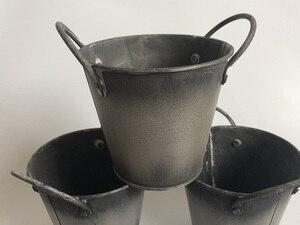 Image 2 - 10 pçs/lote d10xh9cm banheira de ferro antigo redondo galvanizado metal balde jardim decoração casa flor plantador