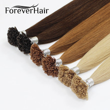 "FOREVER HAIR 0.8g / s 16 ""18"" 20 ""Remy Pre Bonded Human Hair Extension Silkeaktig Straight Professional Salon Fusion Colorful Hair Style"