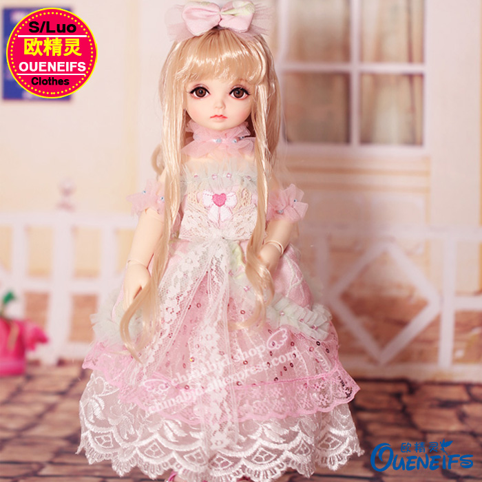 OUENEIFS free shipping lace yarn dress and pink girl doll dress,1 / 6 bjd/sd dolls, no dolls or wigs YF6-148 karmart cathy doll 2 in 1 vitamin c tint tinted gluta gloss pink lip korea free shipping