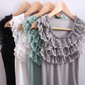 Summer Style Three Layers Lace Women Blusas Ladies Sleeveless Tanks Camisole Tops Camis Ruffles Collar Feminino 4 Colors S033