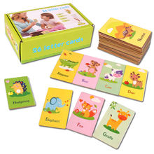 Купить с кэшбэком 2019 New Arrival Baby Toys English Puzzles Infant Early Head Start Training Puzzle Cognitive Card Animal puzzle  Baby Gift