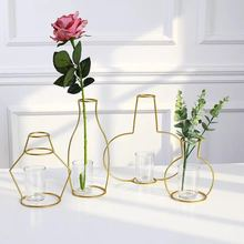 New wrought iron vase office desk Nordic ins style creative geometric metal test tube home decoration