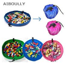 Купить с кэшбэком 150cm Portable Kids Toy Waterproof Outdoor Cushion Storage Bags Play Mat Lego Toys Organizer Blanket Rug Bin Box Bunch Pocket