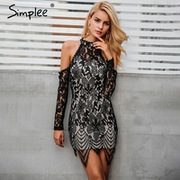 Simplee Halter Off Shooulder Black Lace Dress Women Sexy Slim Bodycon Dress Vestidos Elegant Fringe Tassels