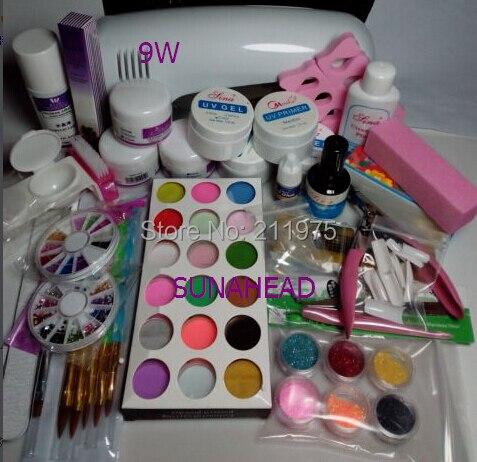 9W UV dryer lamp 18 color Acrylic Powder Nail Art Kit uv builder gel Cleanser Plus primer topcoat Set 2018