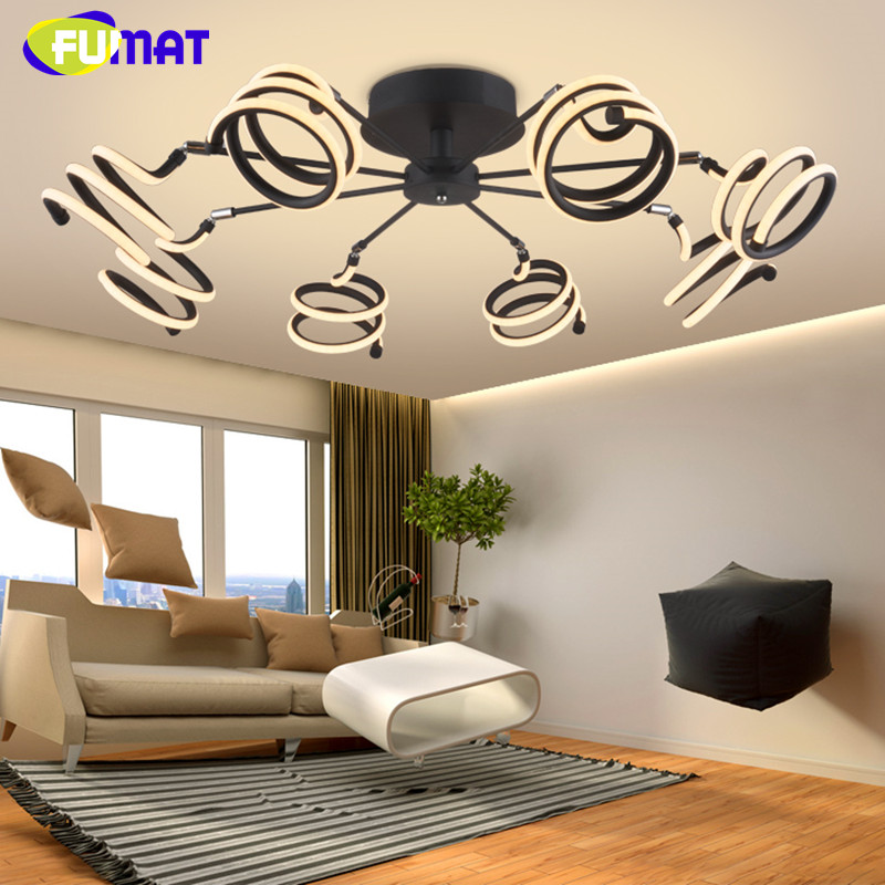 FUMAT Minimalist Modern LED Ceiling Light Creative White Black Spring Ceiling Lamp Bedroom Dinning Room Light Fixture LED noosion modern led ceiling lamp for bedroom room black and white color with crystal plafon techo iluminacion lustre de plafond