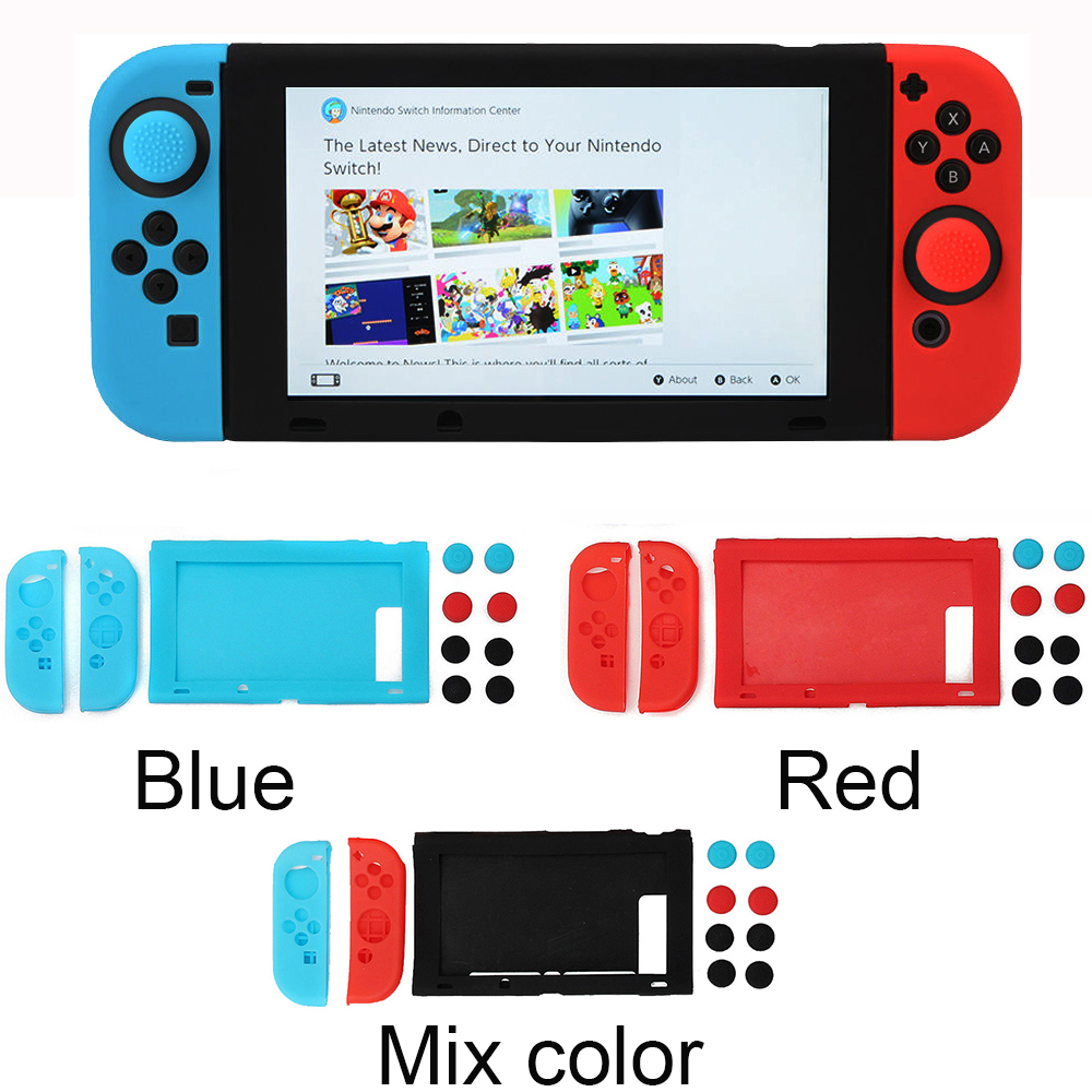 Video Games For Nintendos Switch Ns Console Joycon Eevee Soft Silicone Skin Case+thumbstick Grips Joystick Caps Cover Pikachus Console Bag