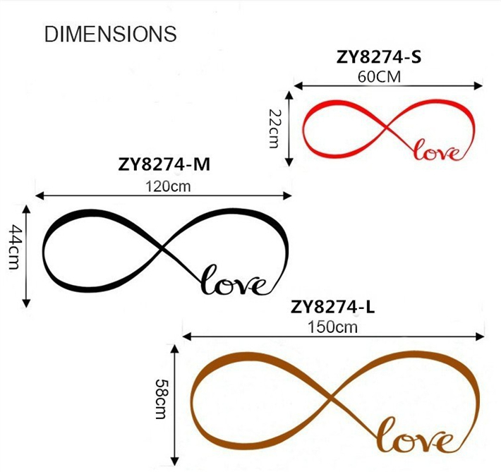 Fast Shipping Personalized Infinity Symbol Bedroom Wallpaper Decals Adorable Infinity Love Quotes