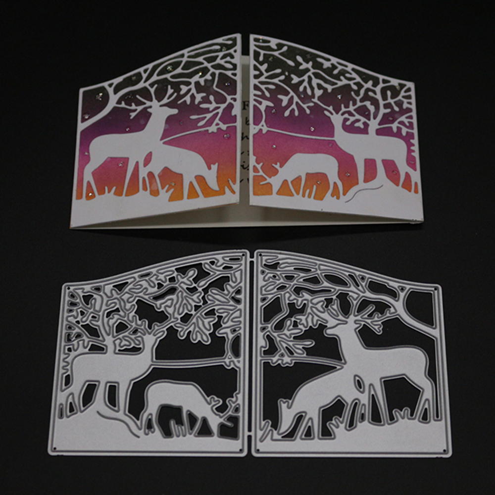 Gate Fold Card Forest Elk Metal Cutting Dies For DIY Scrapbooking Embossing Paper Card Making Decorative Craft Die Cuts New 2019