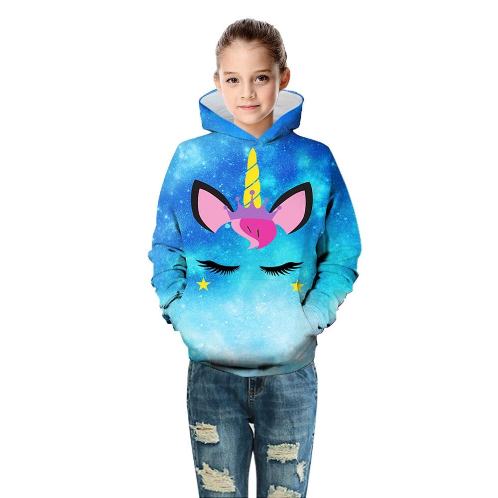Unicorn Girls Jackets 3D Digital Printing Baby Jacket Cotton Hooded Loose Girl Sweatshirt Casual Unicorn Girls Coat Kid Clothes
