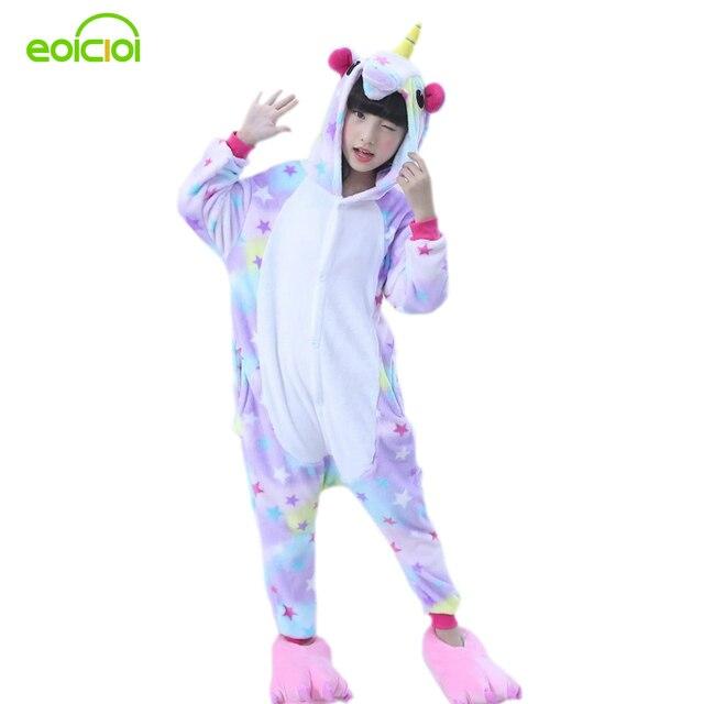 EOICIOI дети животных звезды единорог пижамы для обувь мальчиков девочек  Фланель мультфильм косплэй детская одежда сна d732146fa86ac