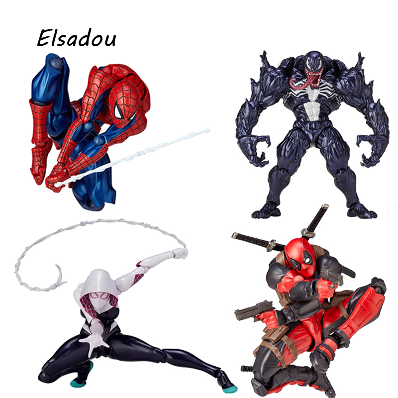 Elsadou Marvel Super Hero FIGMA Series NO.001 002 003 004 Deadpool Gwen Edward Eddie Brock Action Figures Toy Doll цена