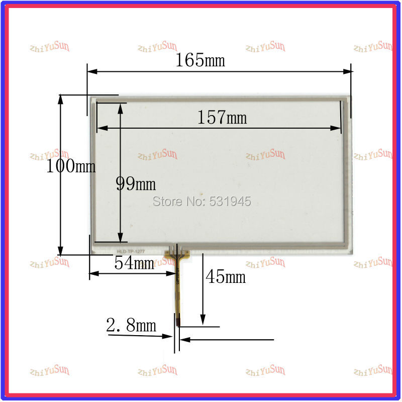 HLD-TP-1277 NEW 7 Inch Touch Screen 165*100 for industry applications 165mm*100mm for GPS GLASS